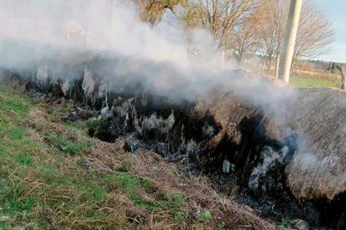 Denuncian la quema de 11 rollos de pasto en Diamante